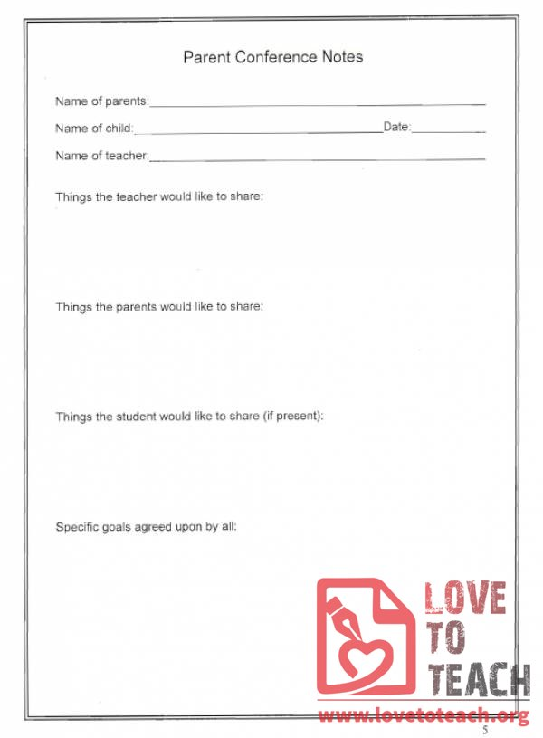 Parent Conference Notes Sheet