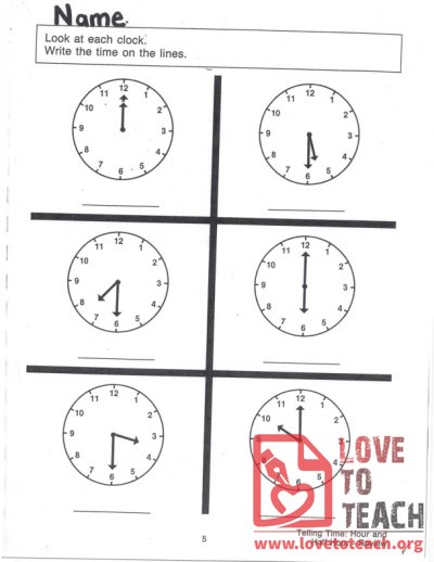 Telling Time - Hour and Half Hour