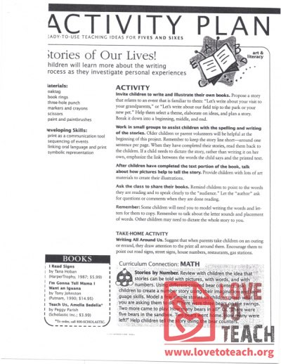 Activity Plan (5s and 6s) Stories of Our Lives