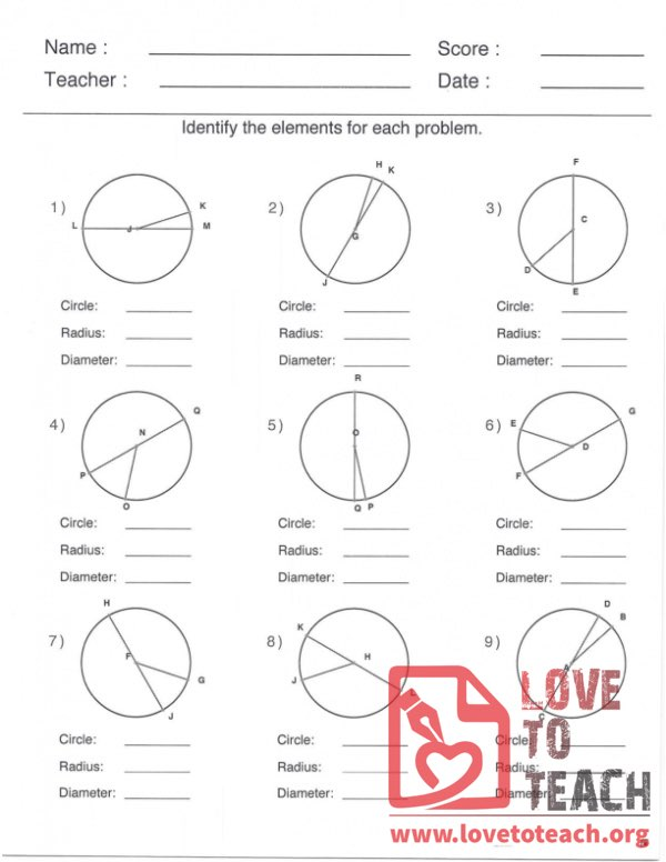 Circle, Radius, and Diameter - With Answers