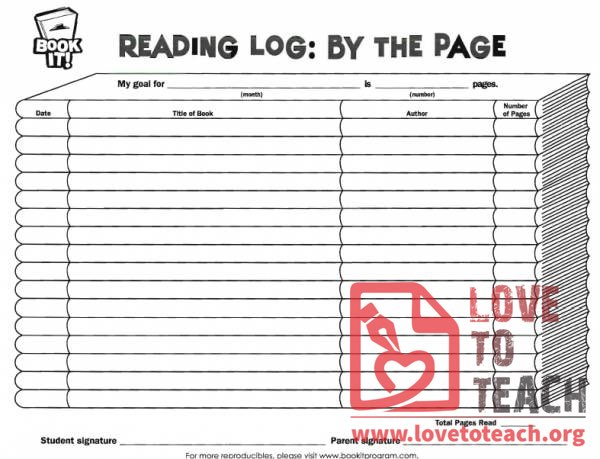 Book It Reading Log By The Page