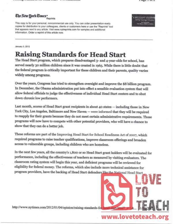 Raising Standards for Head Start