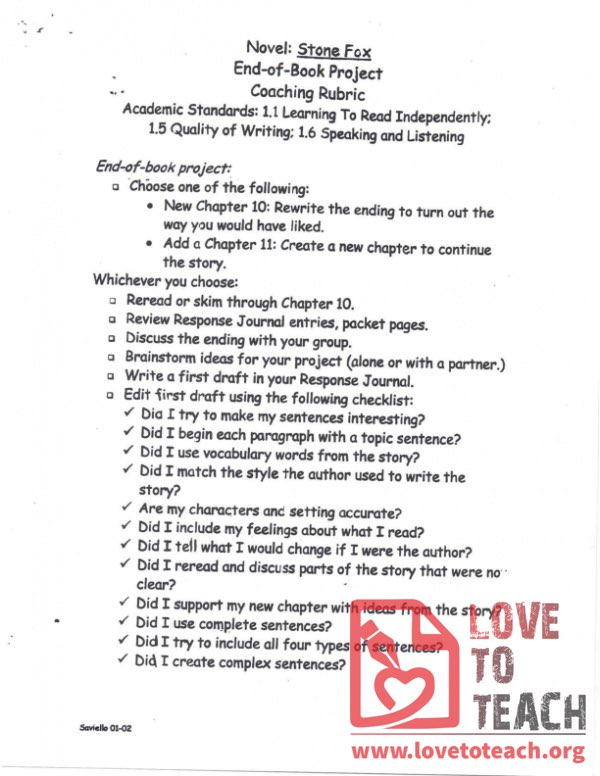Stone Fox Academic Standards - End of Book Project Coaching Rubric