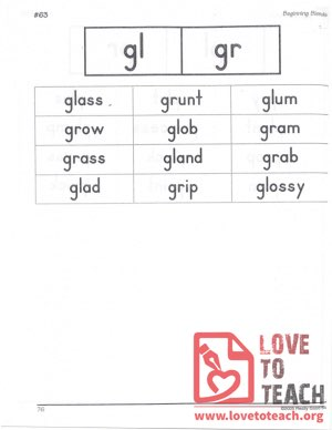 Beginning Blends - gl, gr