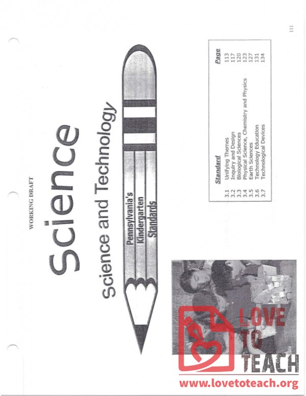 Science and Technology - Pennsylvania Standards for Kindergarten - December 2005