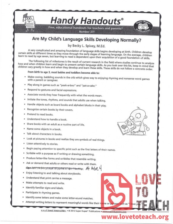 Handy Handouts - Are My Child's Language Skills Developing Normally?