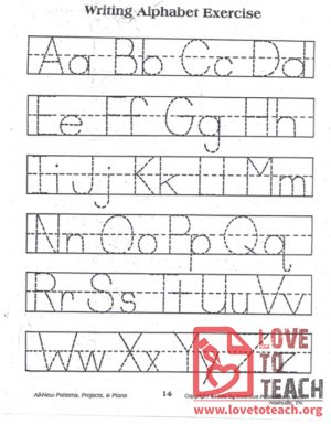 Writing Alphabet Exercise