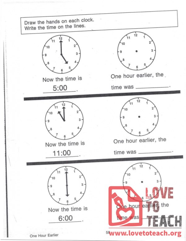 Telling Time - One Hour Earlier