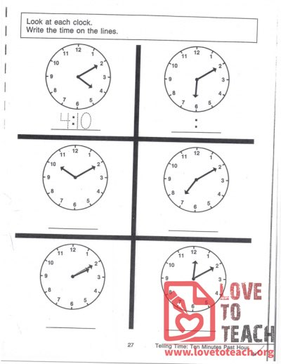 Telling Time - Ten Minutes Past Hour