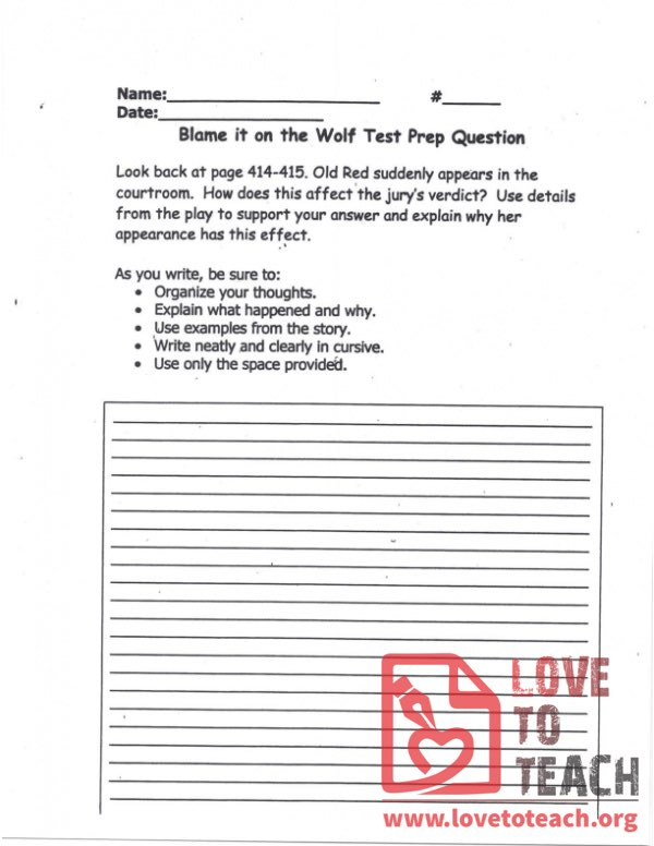 Blame it on the Wolf - Test Prep Question