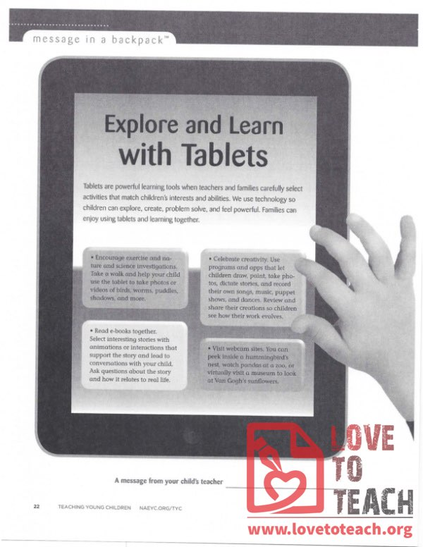 Message in a Backpack - Explore and Learn with Tablets