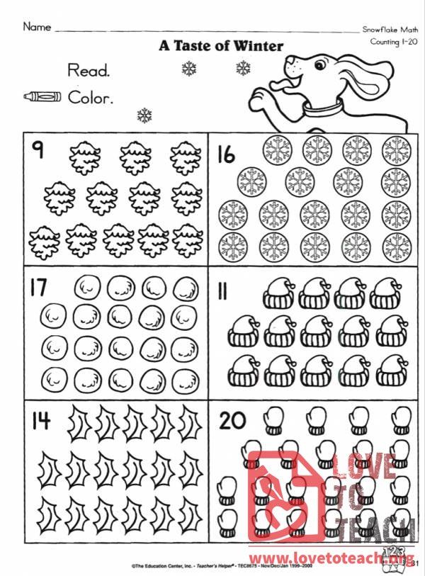 Printable Worksheets worksheets counting to 20 : A Taste of Winter (Counting 1-20) - via LoveToTeach.org (Free ...