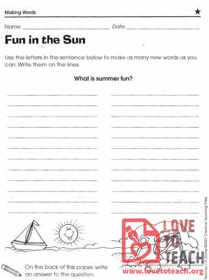 Fun in the Sun Word Activity