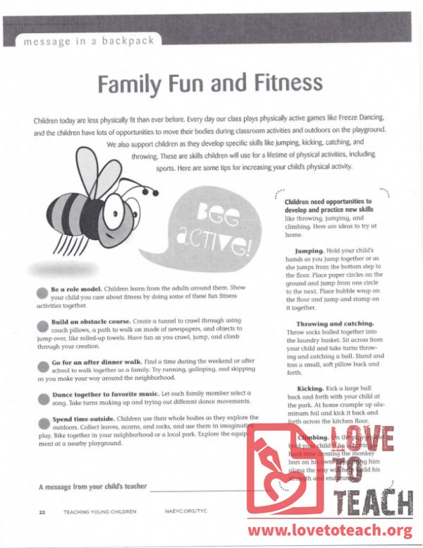 Message in a Backpack - Family Fun and Fitness