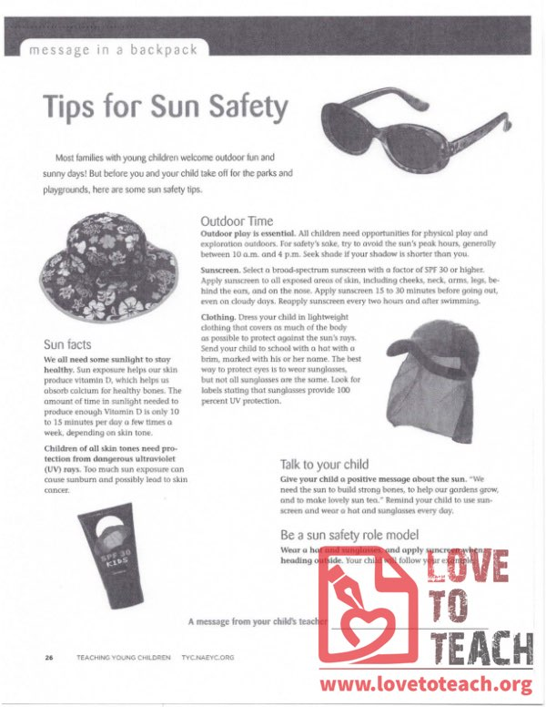 Message in a Backpack - Tips for Sun Safety
