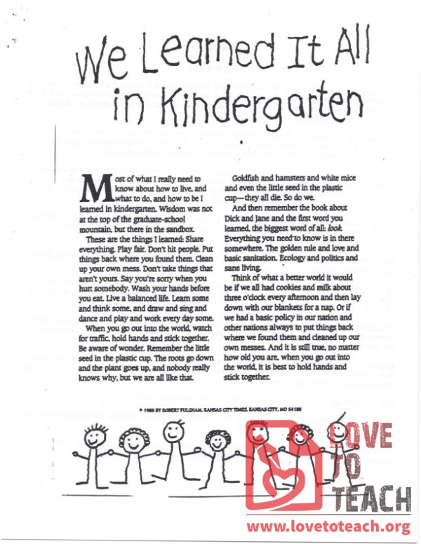 We Learned It All In Kindergarten