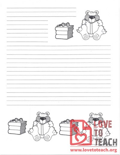Lined Writing Paper Bear Reading Books