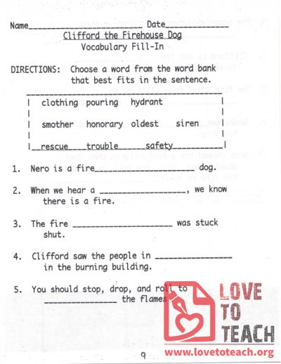 Clifford the Firehouse Dog Vocabulary Fill-In - Worksheet with Answers