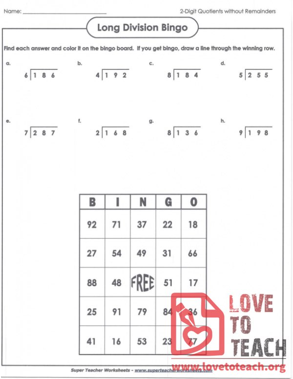 Long Division Bingo With Answers Lovetoteach Org