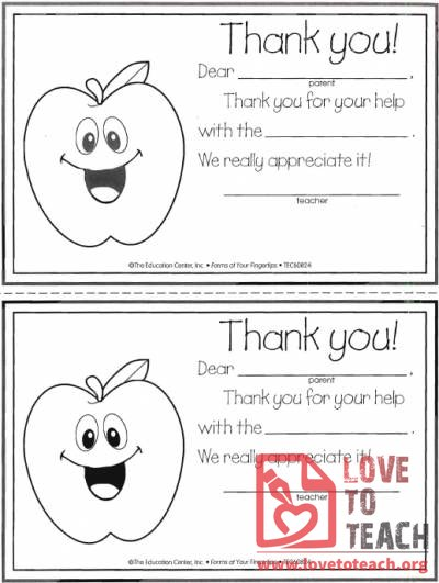 Thank You Notes For Parents | Lovetoteach.Org | Free Printable