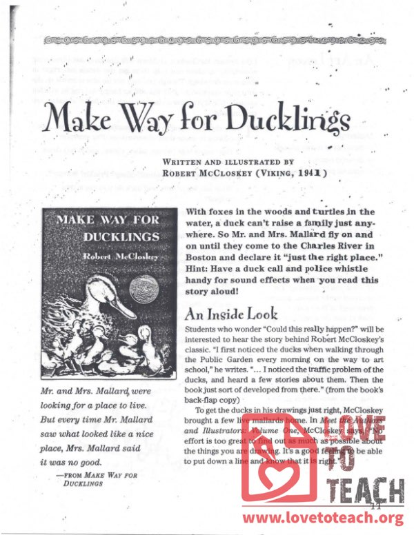 Make Way for Ducklings - Teacher's Guide