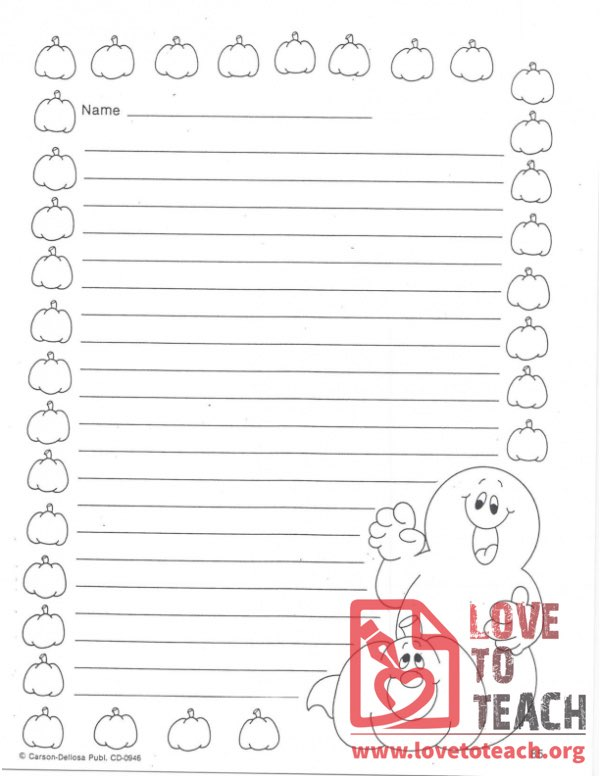Halloween-Themed Lined Paper