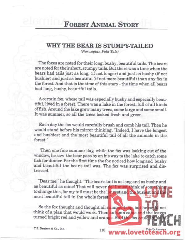 Forest Animal Story - Why the Bear is Stumpy-Tailed