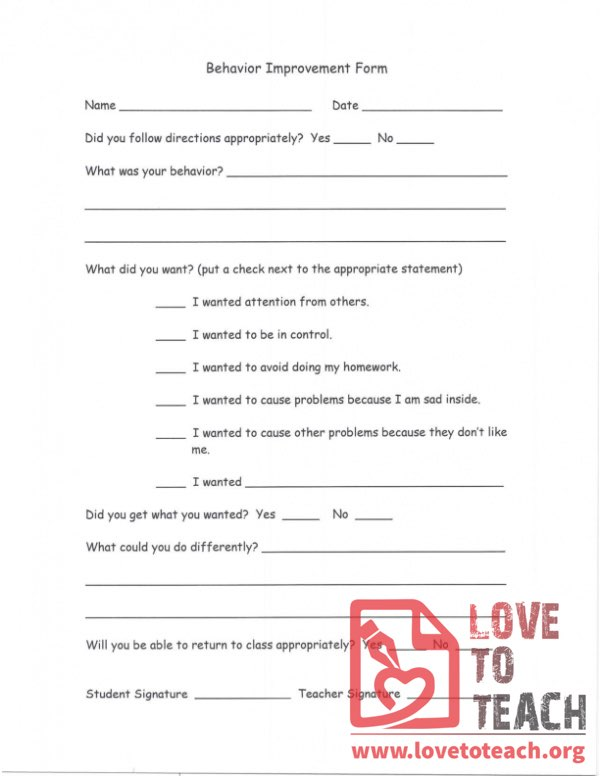 Behavior Improvement Form