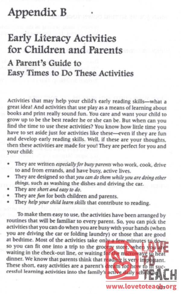 Early Literacy Activities for Children and Parents
