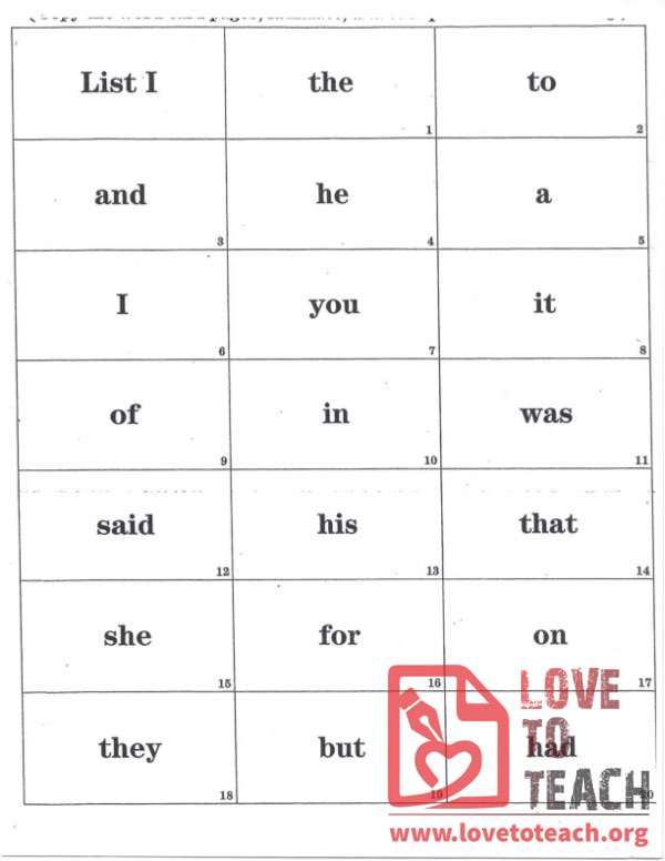 12 Lists of Sight Words