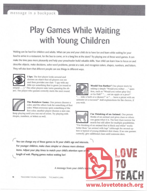 Message in a Backpack - Play Games While Waiting with Young Children