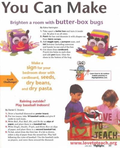 Butter Box Bugs, Bedroom Door Sign, and a Tabletop Baseball Game
