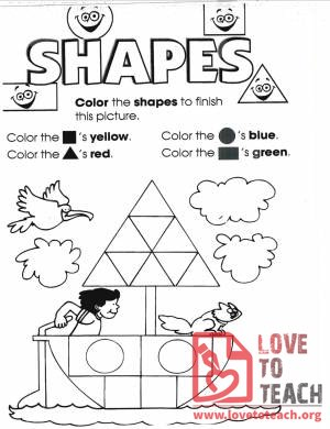 Coloring Shapes Worksheet