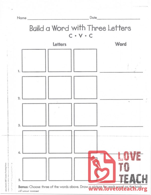 Build a Word with Three Letters - CVC