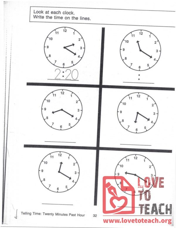 Telling Time - Twenty Minutes Past Hour