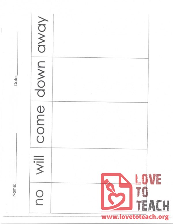 Sight Words Sorting