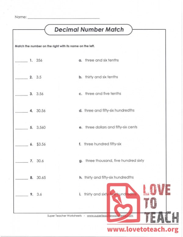 Decimal Number Match - With Answers