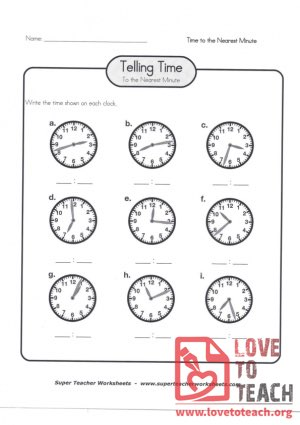 Telling Time to the Nearest Minute (B) (with Answer Key)