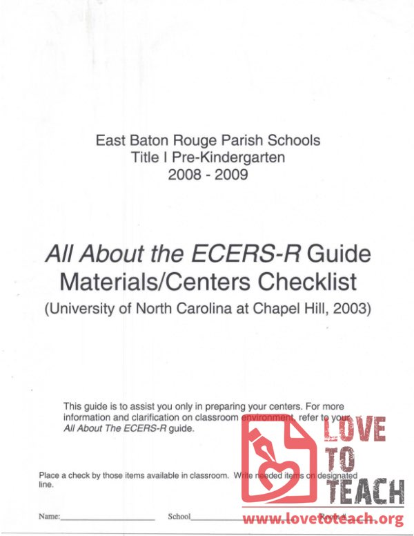 All About The ECERS-R Guide Materials Centers Checklist