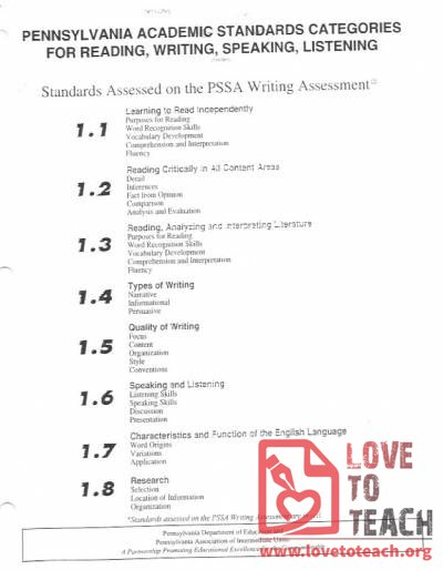 PA Reading, Writing, Listening, and Speaking Standards