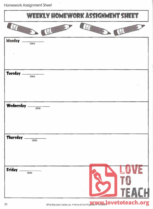 weekly homework assignment sheet