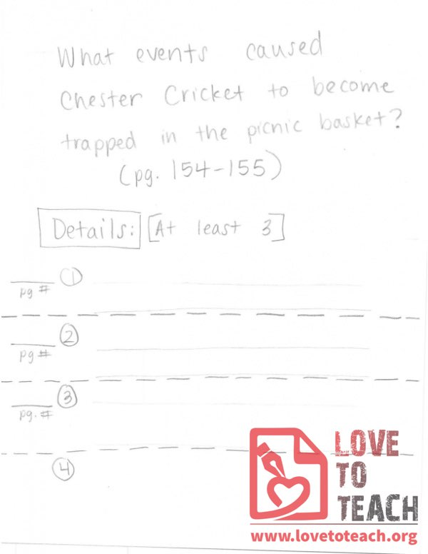 The Cricket in Times Square - Worksheet