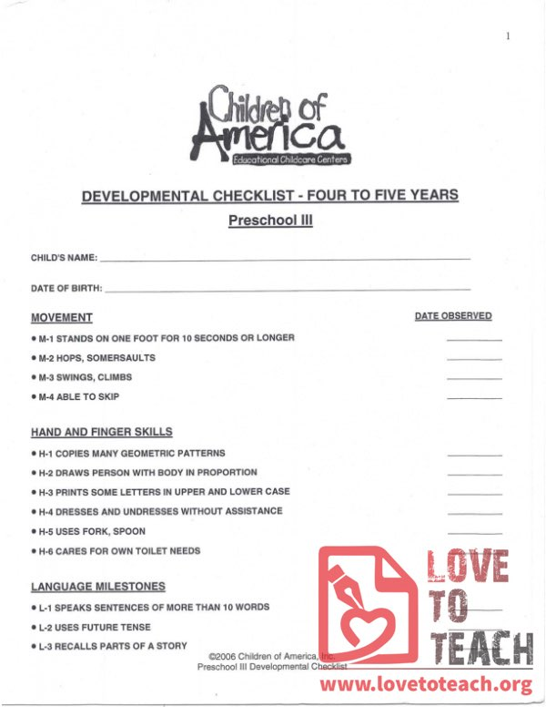 Developmental Checklist - Four to Five Years