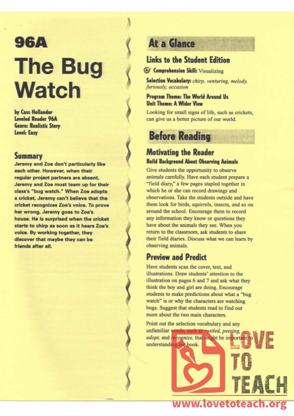 The Bug Watch - Reading Guide